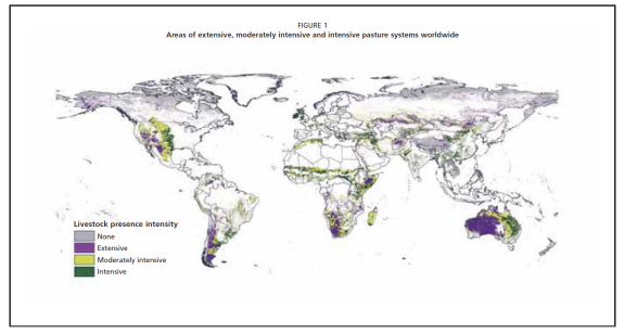 Areas of extensive, moderately intensive and intensive pasture systems throughout the world. Source: Neely, C., Bunning, S., and Wilkes, A. (2009). Review of evidence on drylands pastoral systems and climate change - Implications and opportunities for mitigation and adaptation. Land and Water Discussion Paper. Food and Agriculture Organization of the United Nations, Rome.